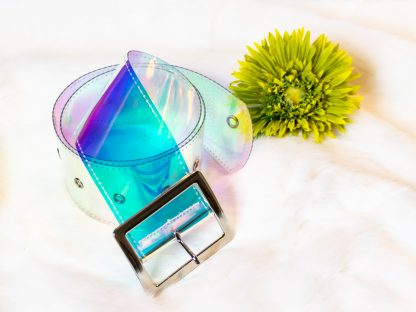 Holographic-or-clear-wide-waist-belt